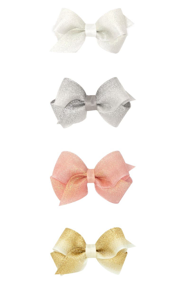 PLH BOWS 4-Pack Wee Shimmer Bow Hair Clips, Main, color, MULTI