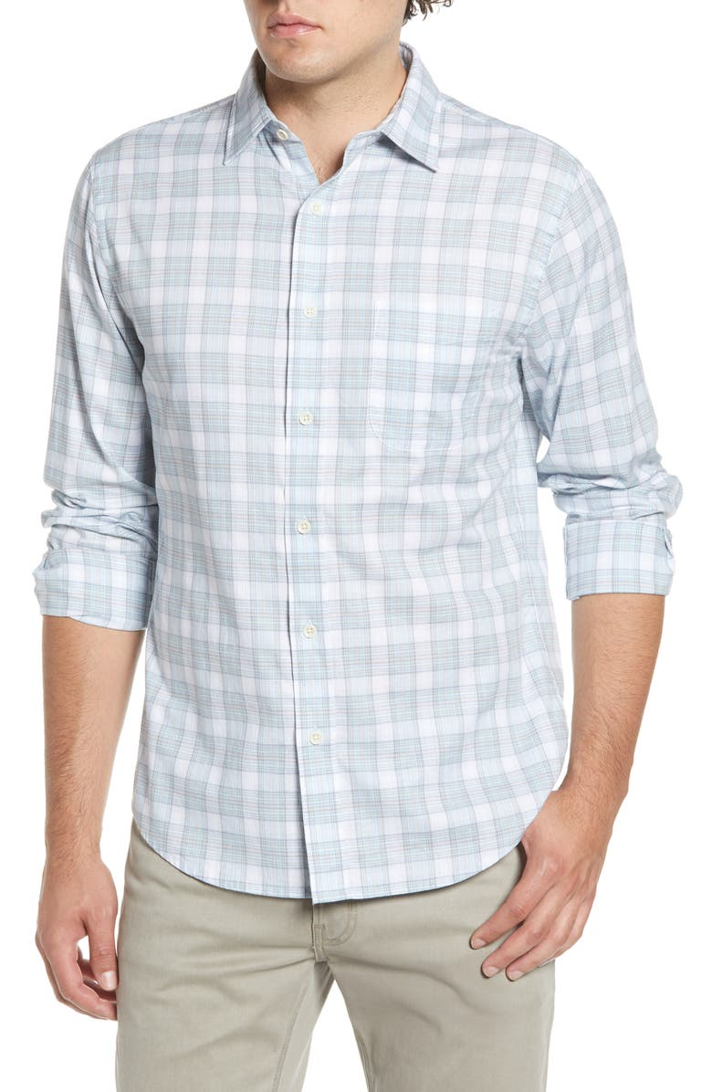 FAHERTY Ventura Regular Fit Plaid Sport Shirt, Main, color, TEAL WHITE CORAL