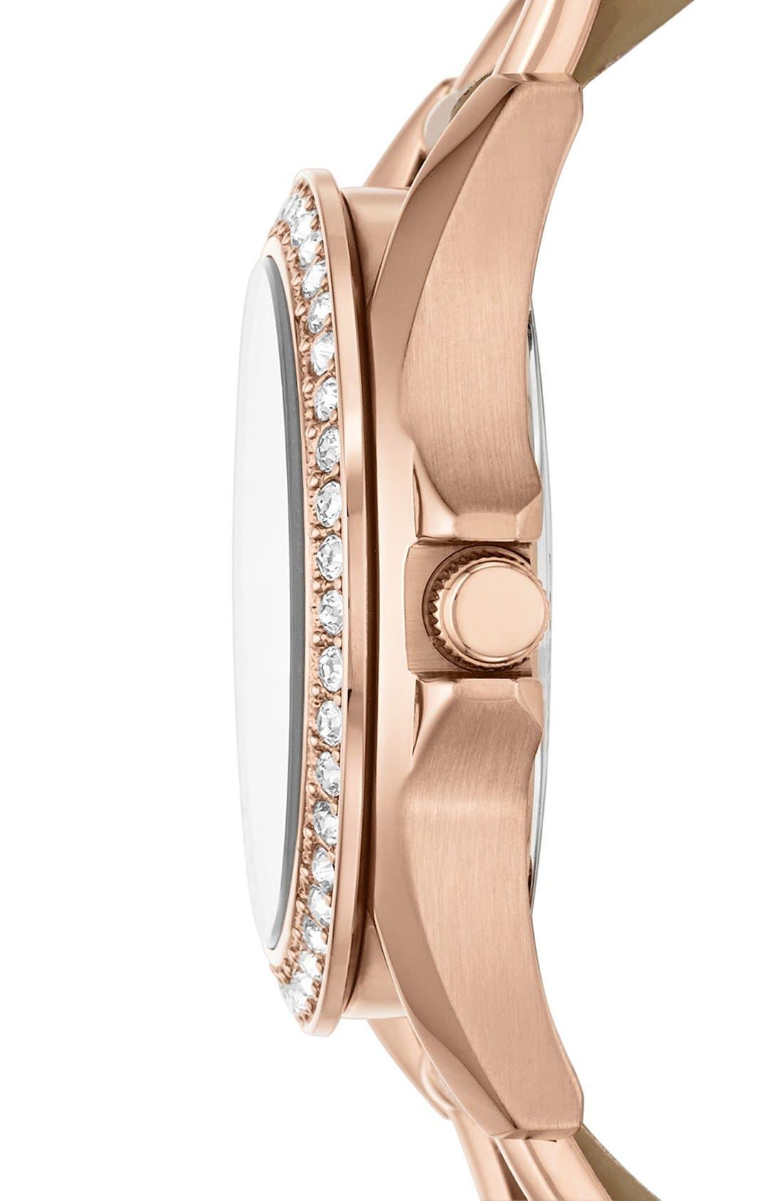 ,                             'Riley' Crystal Bezel Leather Strap Watch, 38mm,                             Alternate thumbnail 3, color,                             BONE/ ROSE GOLD