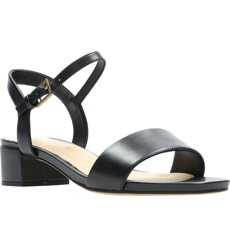 CLARKS<SUP>®</SUP> Orabella Iris Sandal, Main, color, BLACK LEATHER