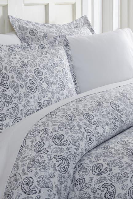 Image of IENJOY HOME Home Spun Premium Ultra Soft 3-Piece Coarse Paisley Print Duvet Cover Queen Set - Navy