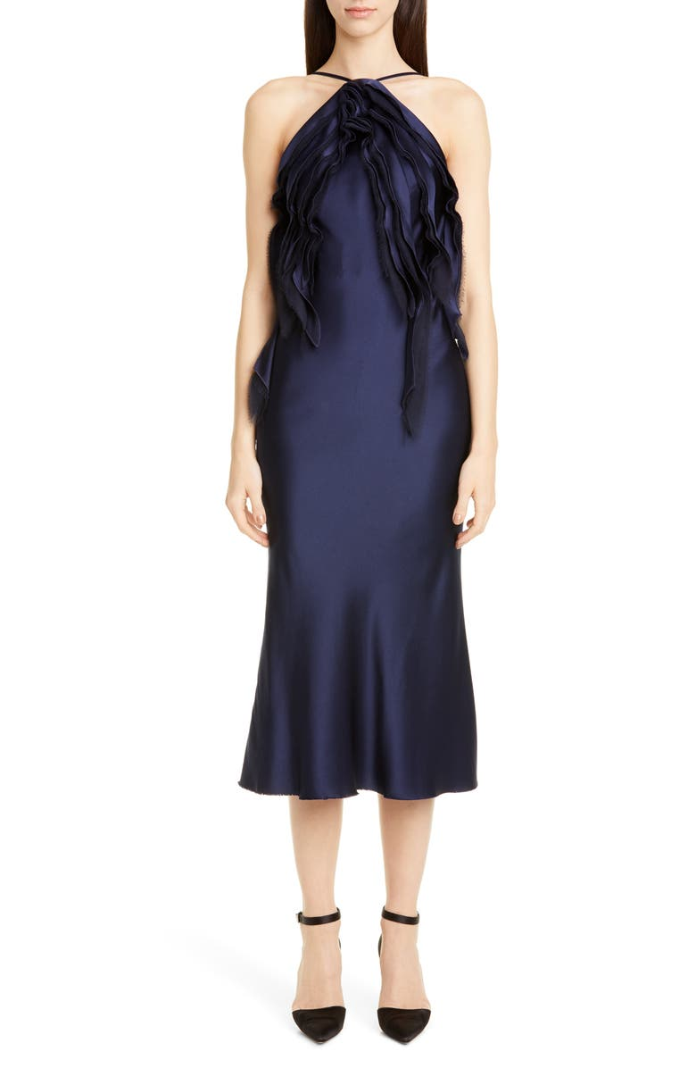 JASON WU COLLECTION Crepe Back Satin Cocktail Dress, Main, color, NAVY