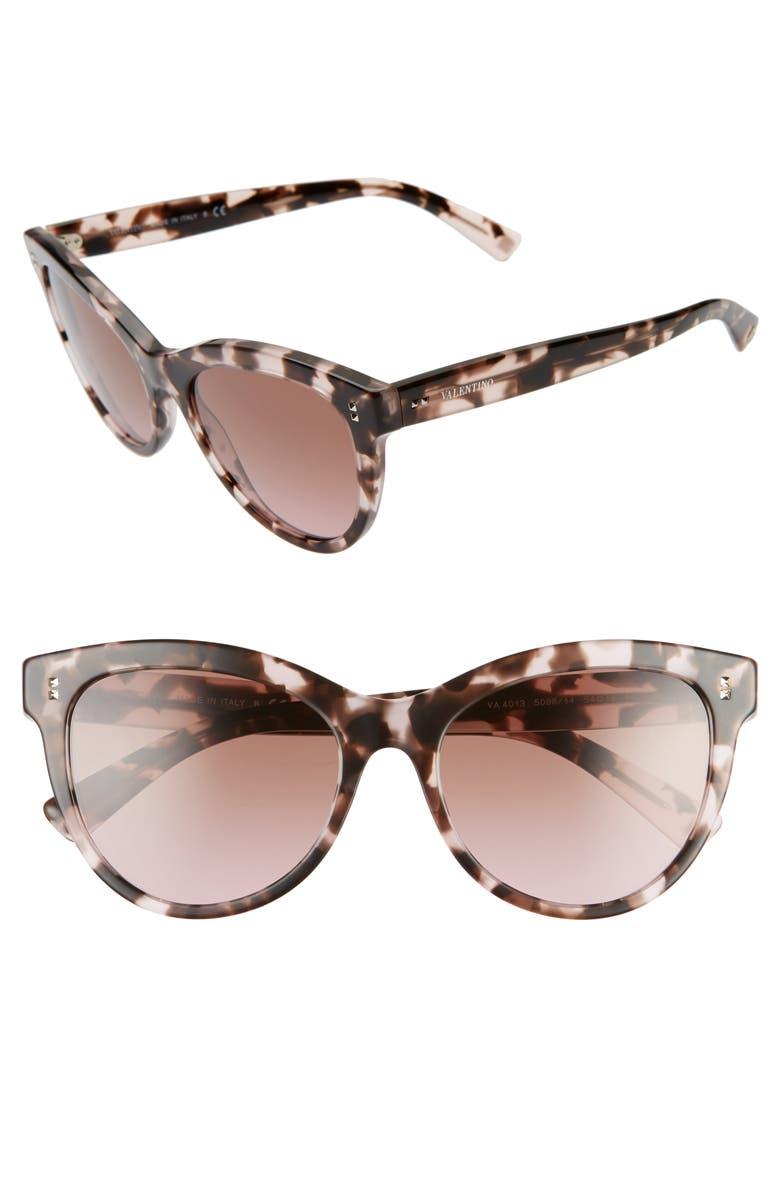 VALENTINO 54mm Cat Eye Sunglasses, Main, color, PINK HAVANA/ GRAD PINK BROWN