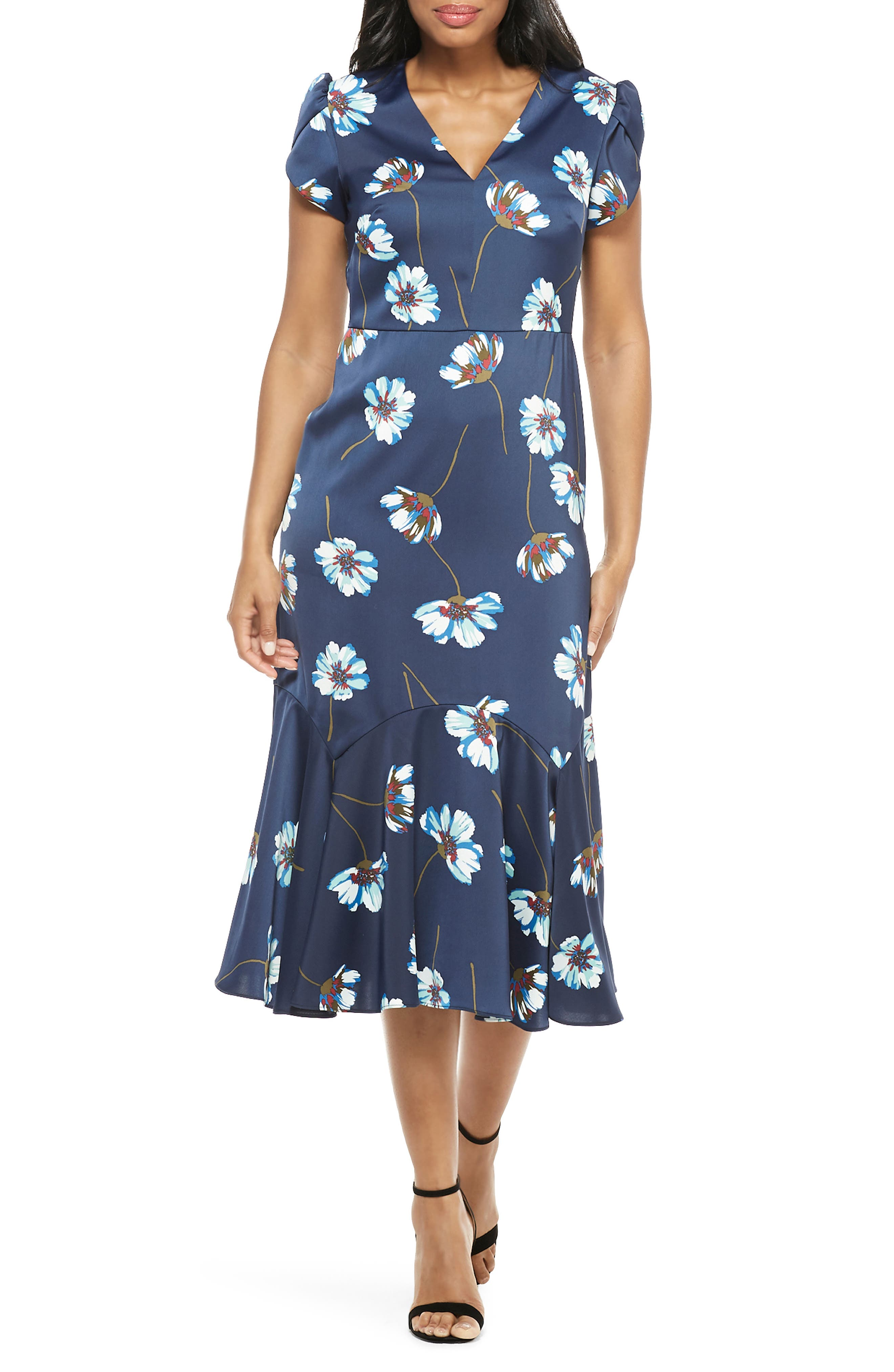 1930s Day Dresses, Afternoon Dresses History Womens Maggy London Floral Print Charmeuse Midi Dress $148.00 AT vintagedancer.com