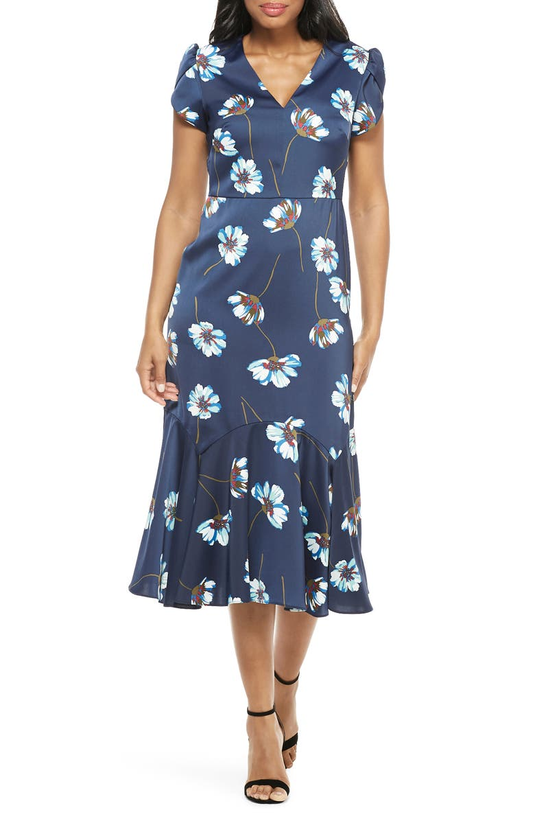 MAGGY LONDON Floral Print Charmeuse Midi Dress, Main, color, NAVY/ SEAFOAM