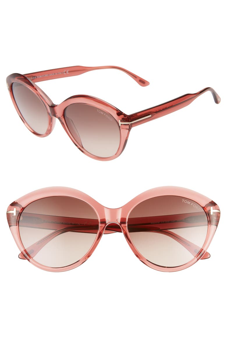 TOM FORD Maxine 56mm Gradient Round Sunglasses, Main, color, SHINY PINK/ GRADIENT BROWN