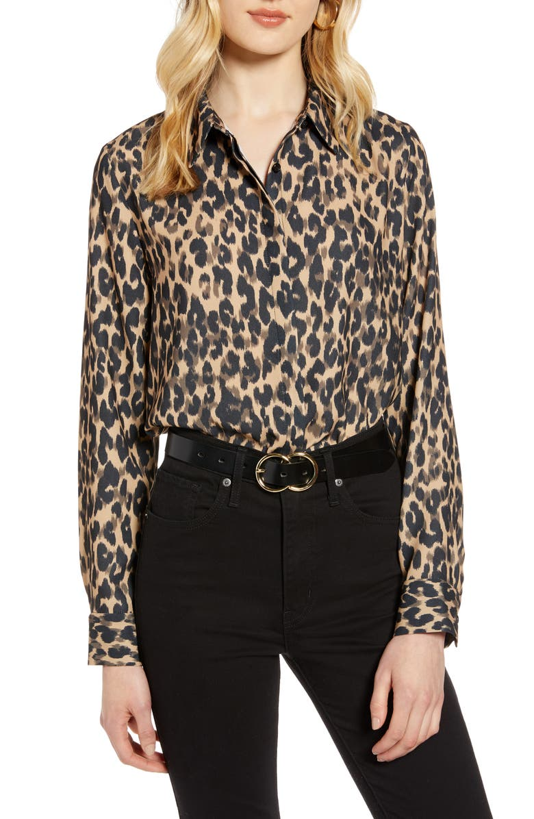 HALOGEN<SUP>®</SUP> Hidden Button Long Sleeve Blouse, Main, color, TAUPE ANIMAL PRINT