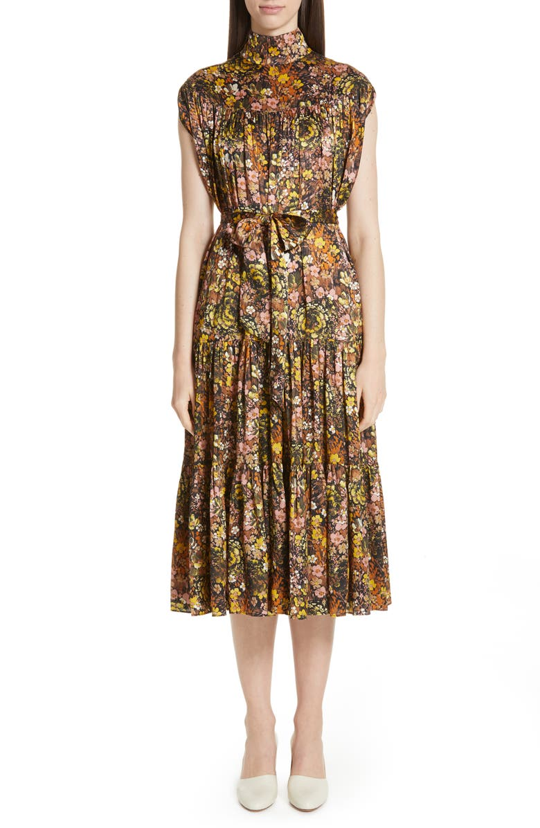Floral High Neck Silk Dress by Co