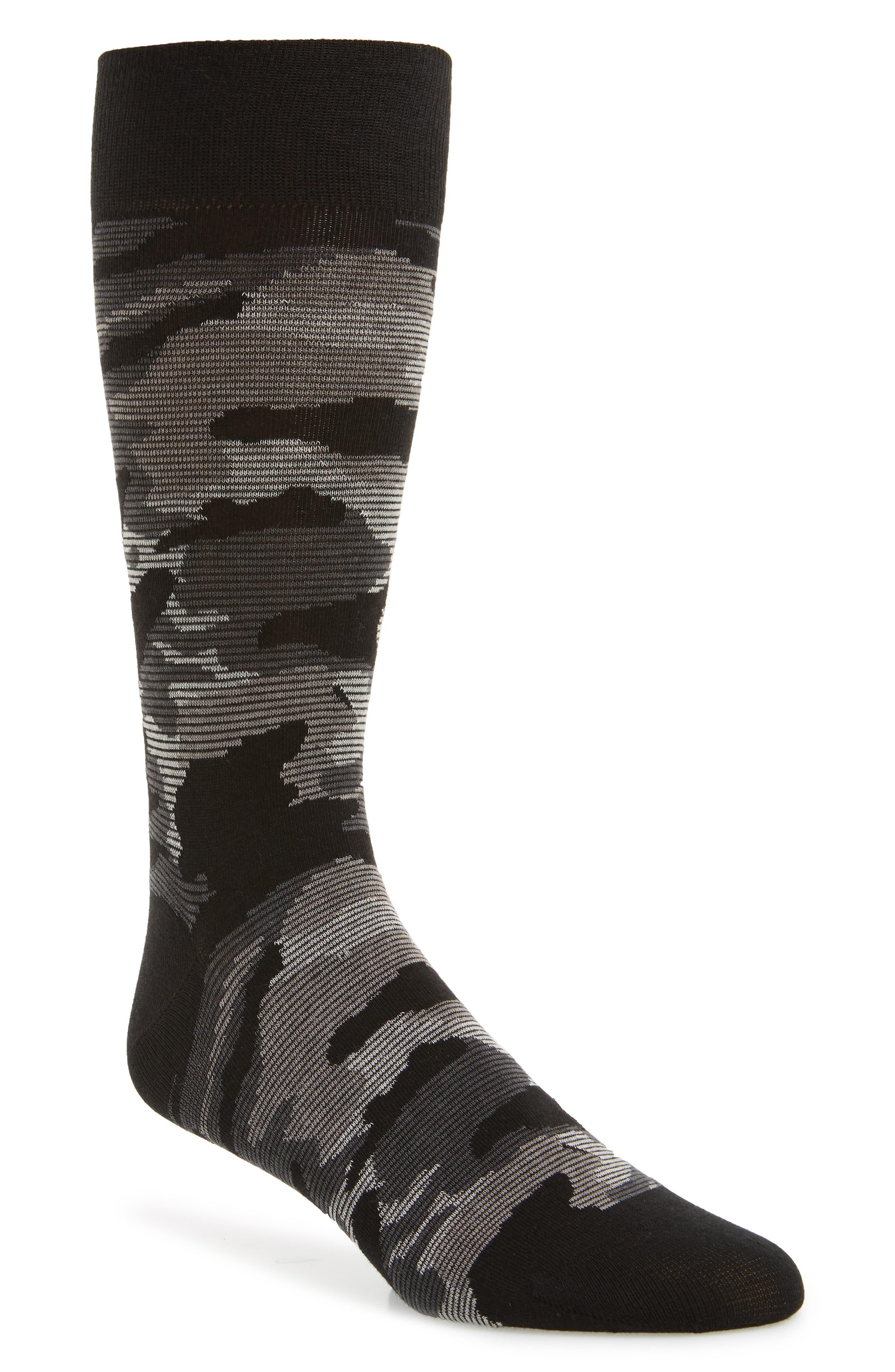 Modern Camo Socks, Main, color, BLACK