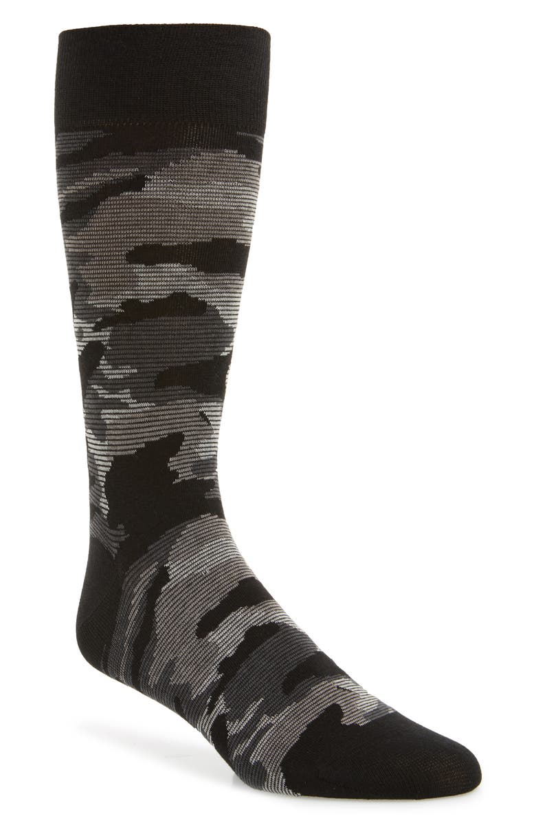COLE HAAN Modern Camo Socks, Main, color, BLACK