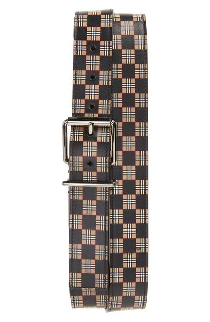 Burberry MACK CHECK LEATHER BELT