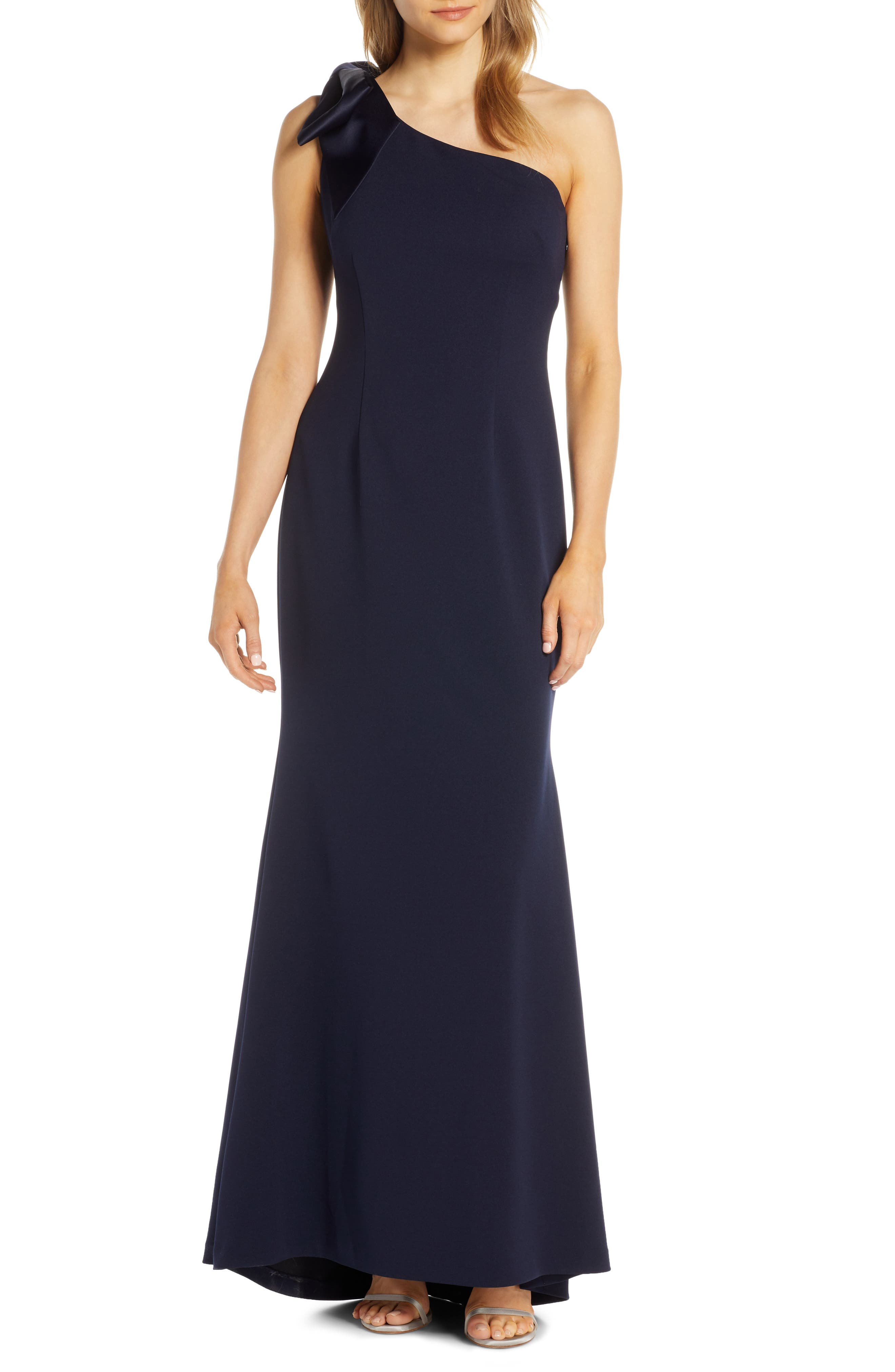 Petite Eliza J One-Shoulder A-Line Gown, Blue