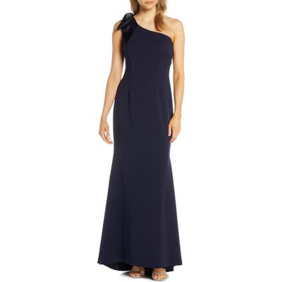 Eliza J One-Shoulder A-Line Gown, Blue