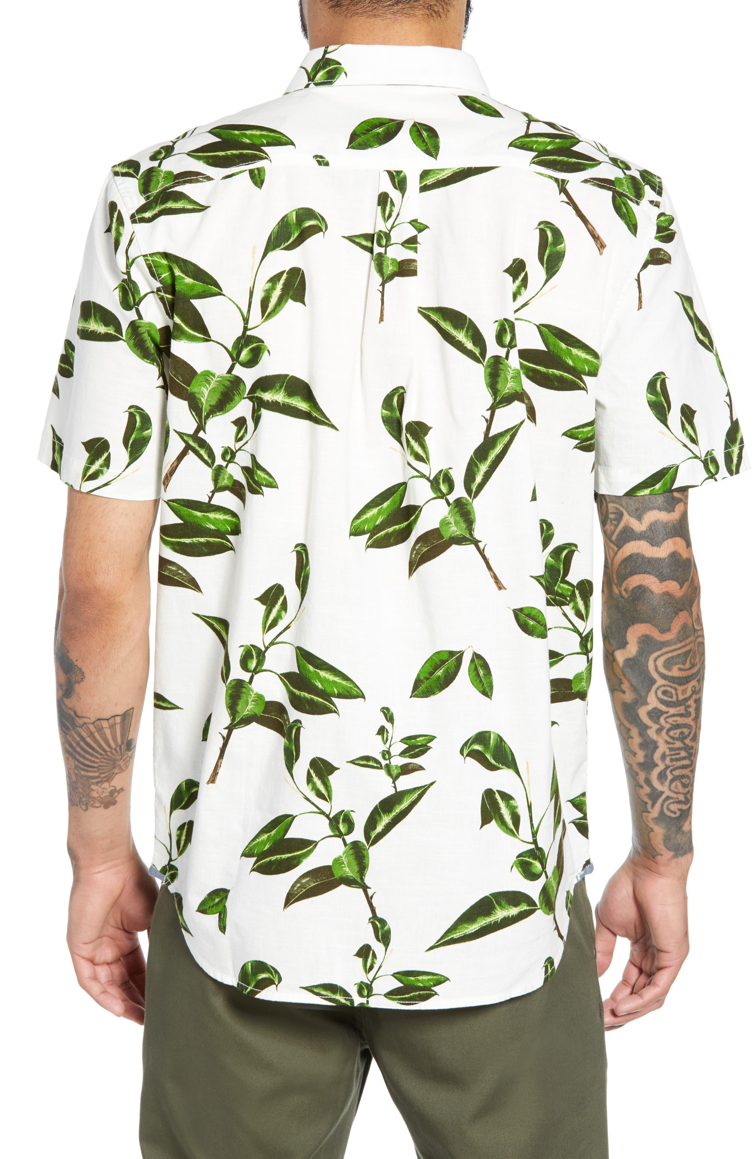 ,                             Rubber Co. Tree Print Woven Shirt,                             Alternate thumbnail 3, color,                             RUBBER FLORAL