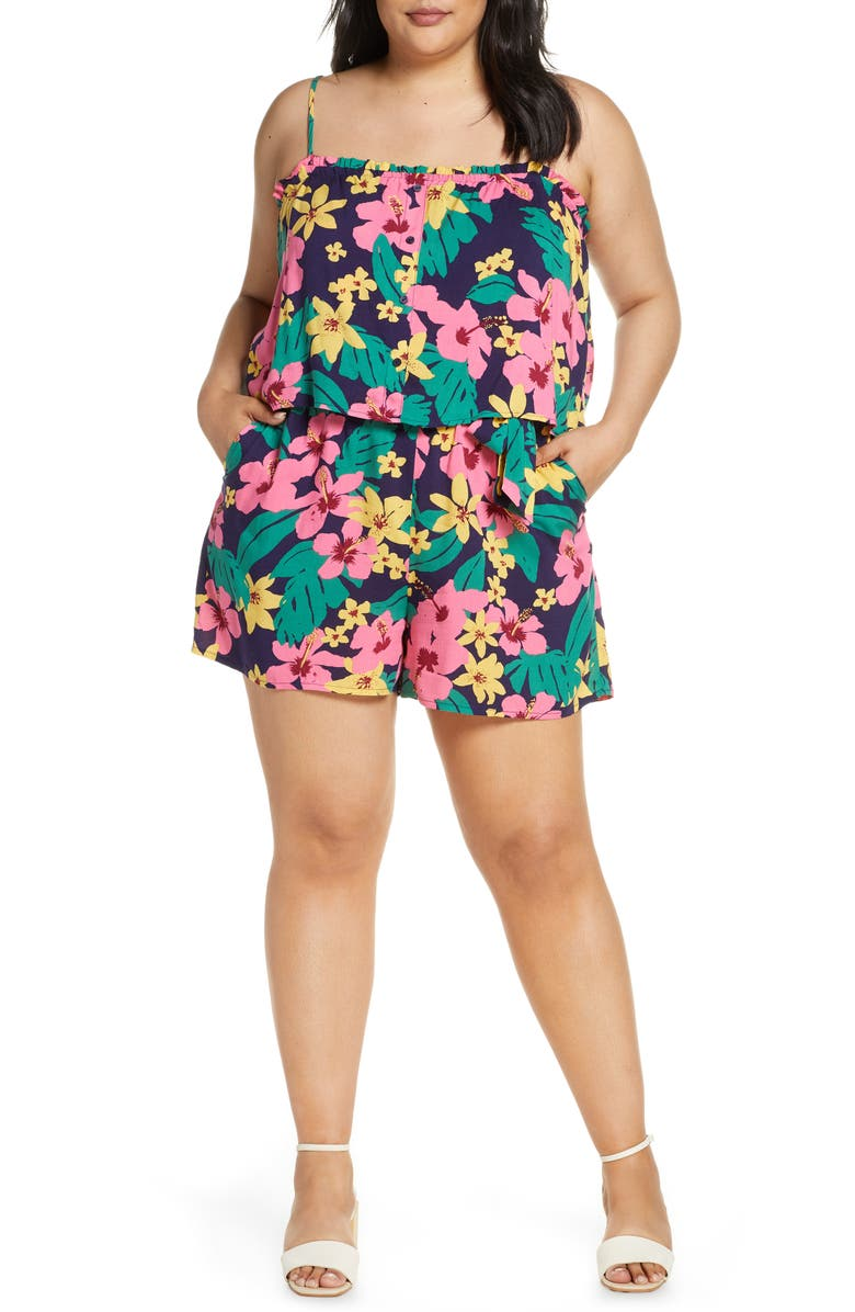 GIBSON x Hot Summer Nights Two Peas Layered Camisole Romper, Main, color, 688