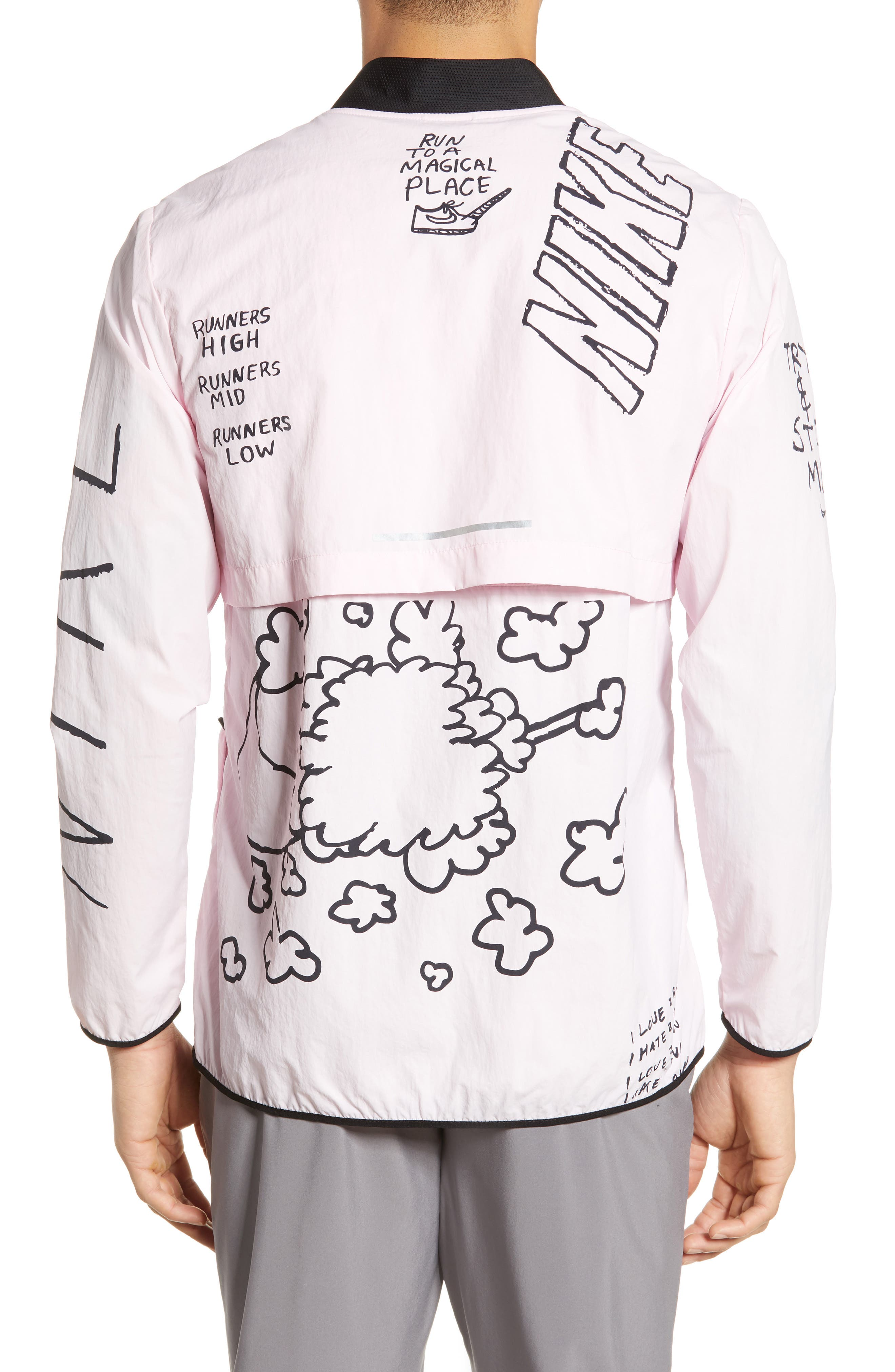 ,                             x Nathan Bell Water Repellent Printed Running Jacket,                             Alternate thumbnail 2, color,                             PINK FOAM