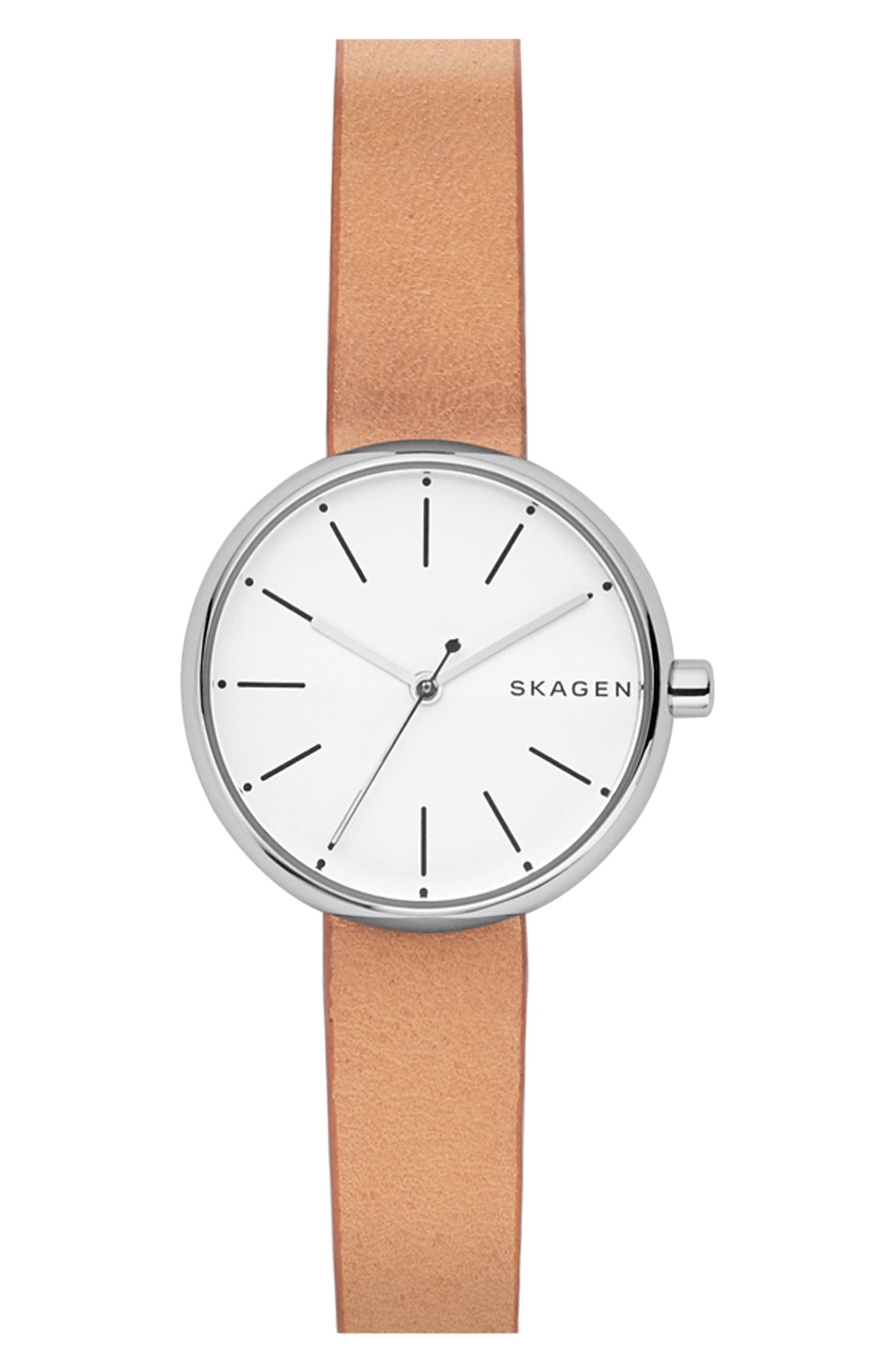 women's skagen round leather strap watch, 30mm
