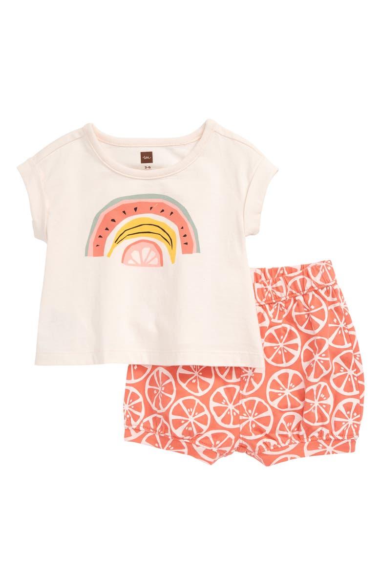 TEA COLLECTION Rainbow Fruit T-Shirt & Shorts Set, Main, color, 805