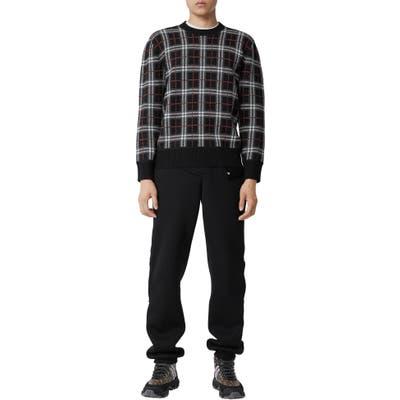 Burberry Check Jacquard Merino Wool Sweater, Black