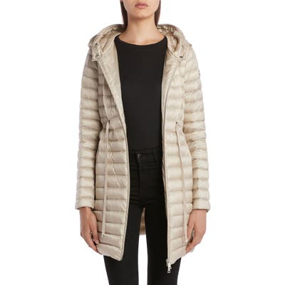 Moncler Barbel Tie Waist Hooded Lightweight Down Coat, Beige