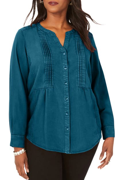 Foxcroft KIRA PLEATED GARMENT DYED SHIRT