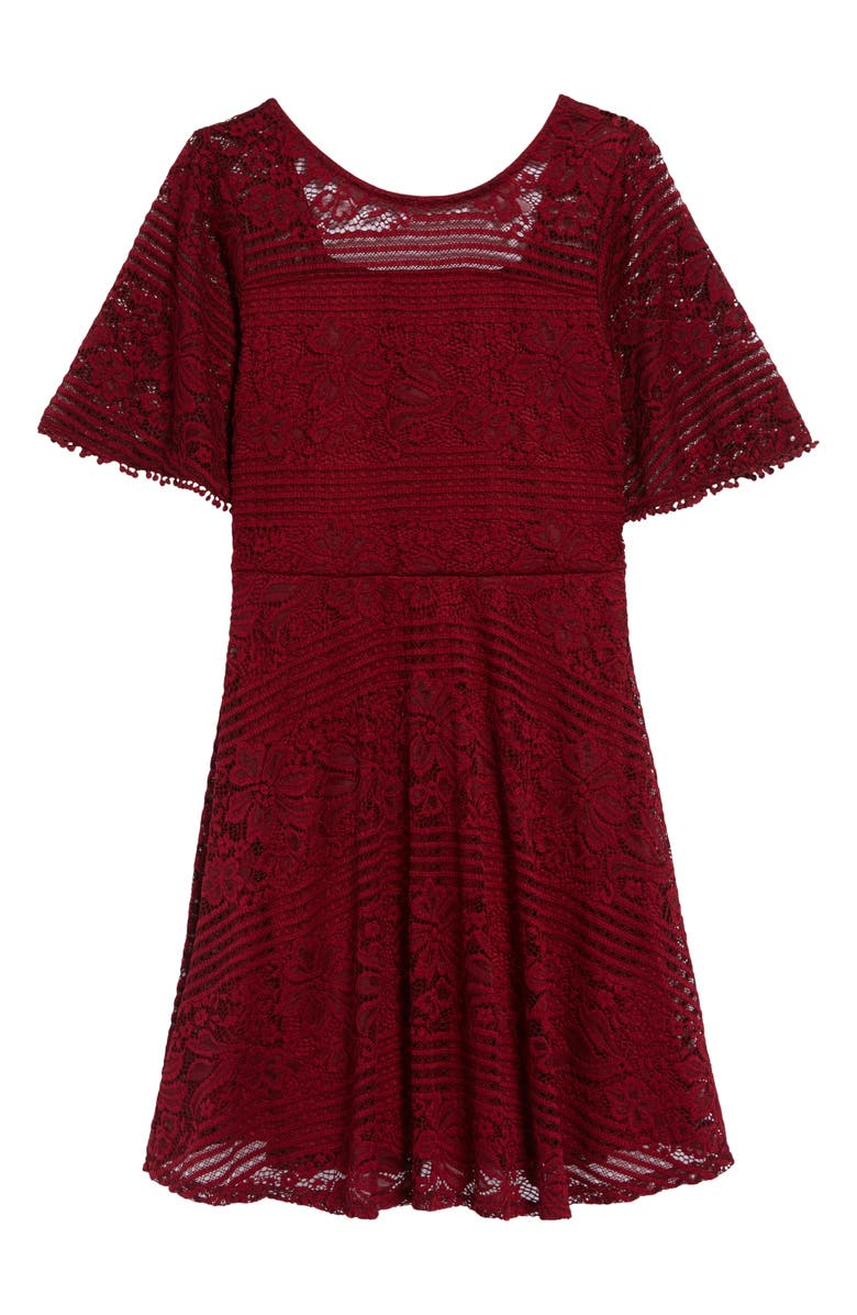 AVA & YELLY Lace Skater Dress, Main, color, 930