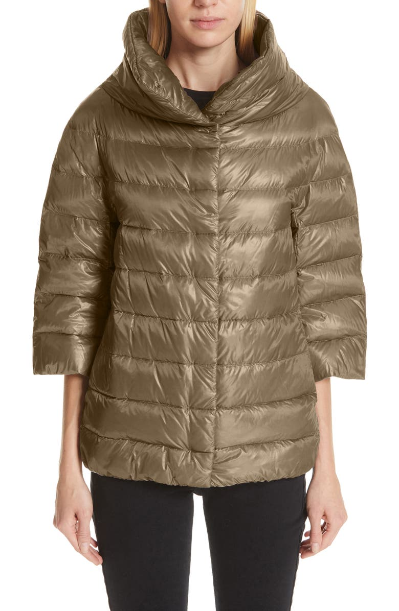 HERNO Aminta Quilted Down Crop Puffer Jacket, Main, color, TAUPE