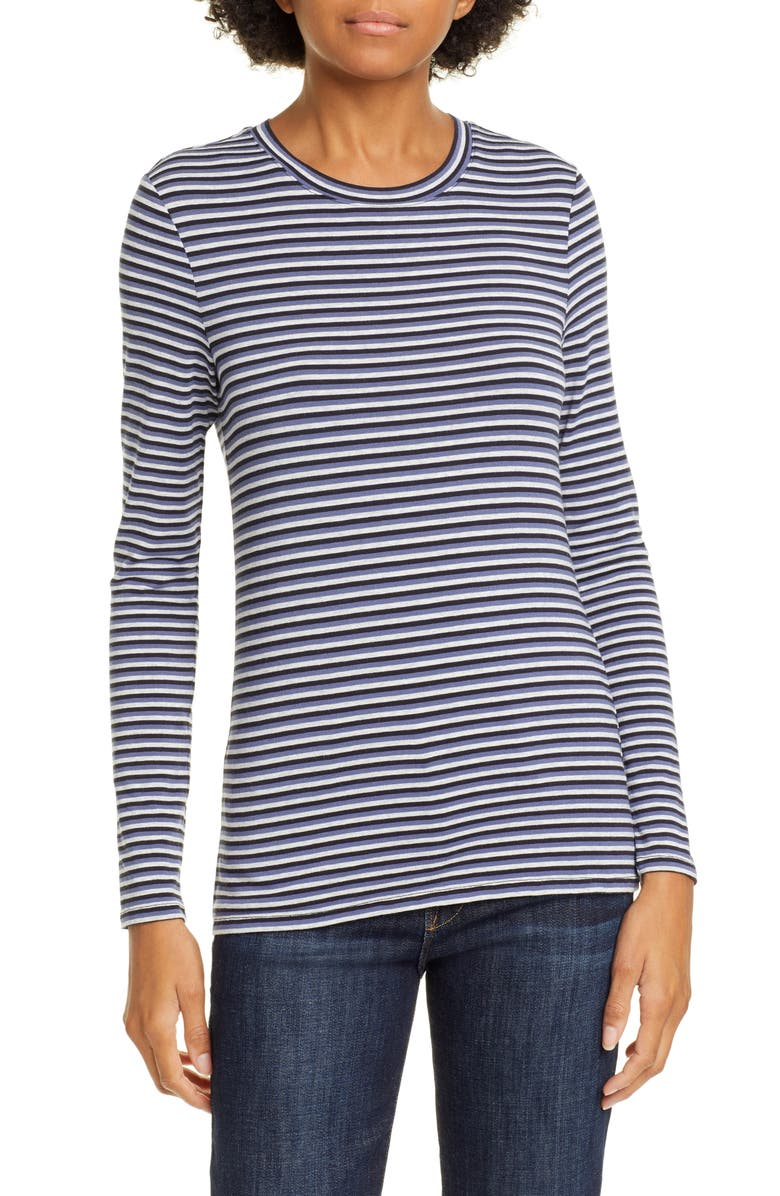NORDSTROM SIGNATURE Stripe Long Sleeve Tee, Main, color, NAVY- BLUE TRICOLOR STRIPE