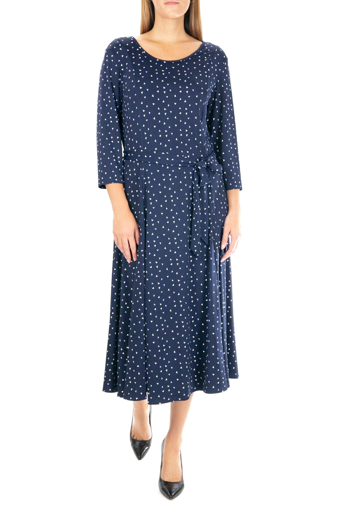 Image of Nina Leonard Crew Neck 3/4 Length Sleeve Midi Dress