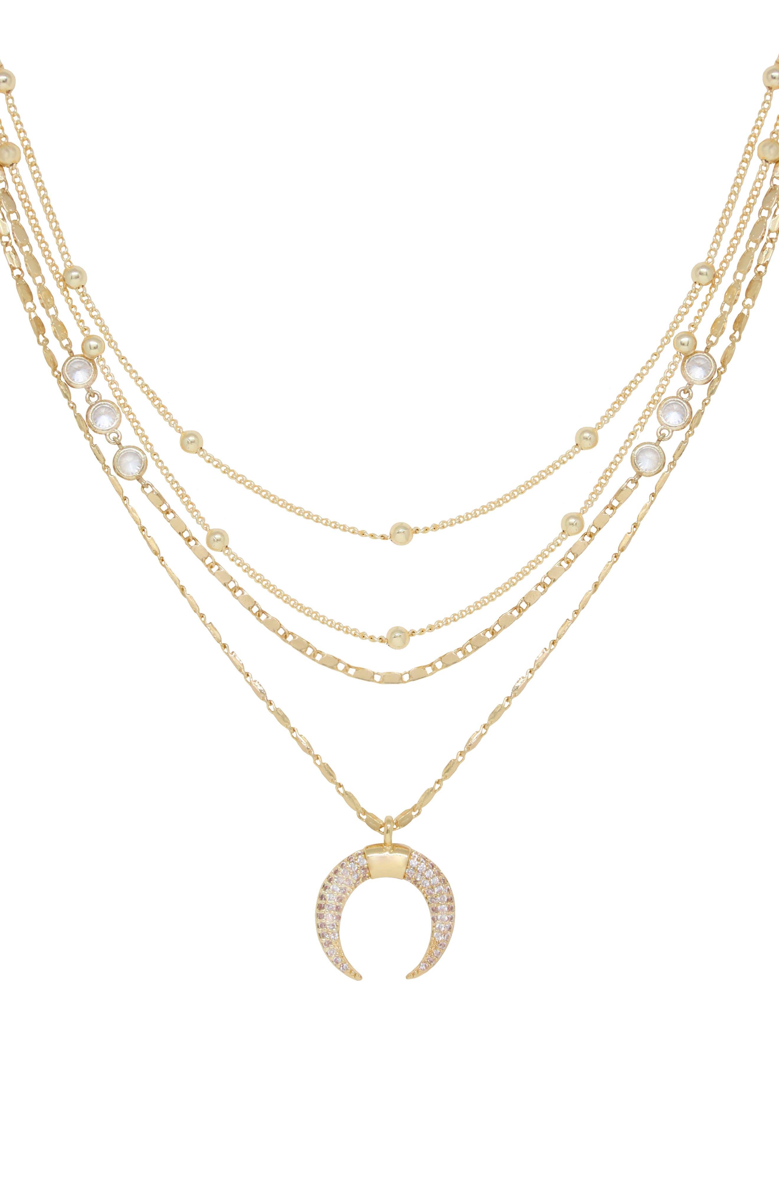 Crescent Horn Multistrand Pendant Necklace