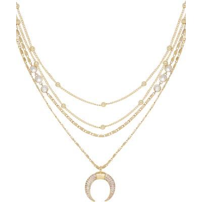 Ettika Crescent Horn Multistrand Pendant Necklace