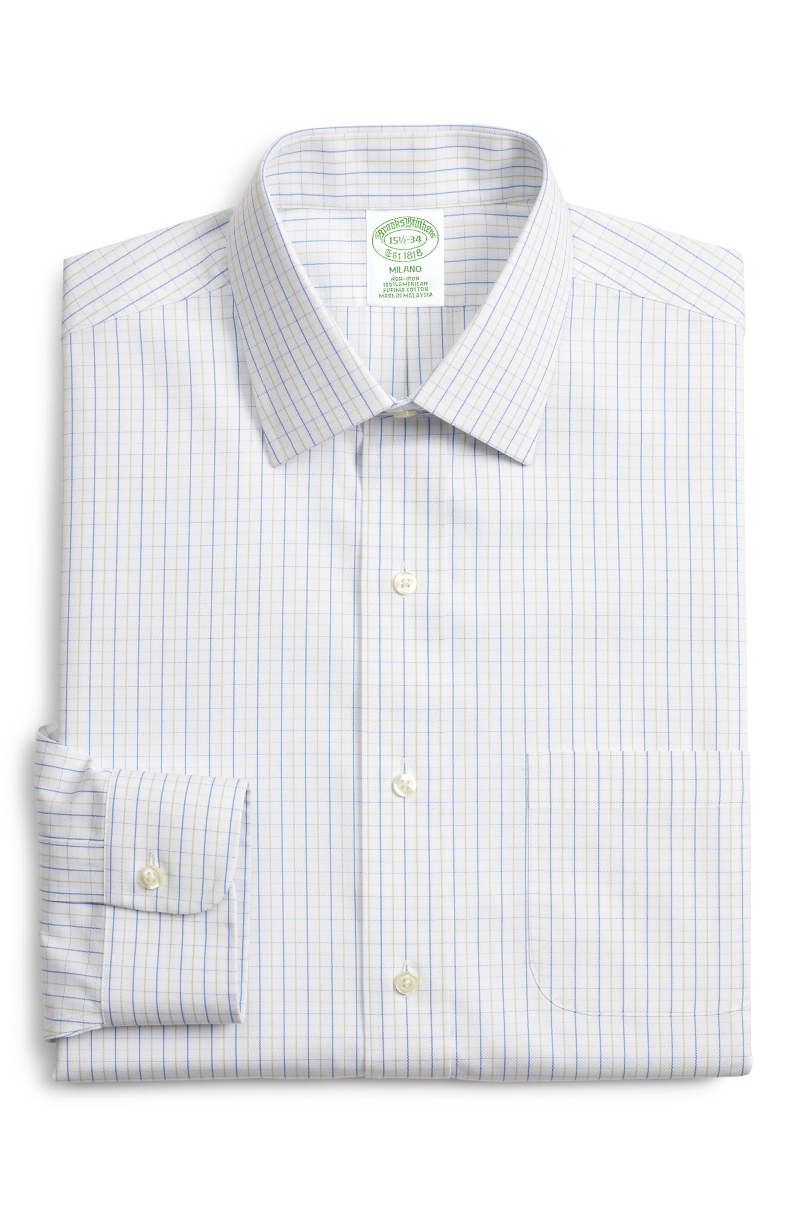 Milano Slim Fit Check Dress Shirt, Main, color, GREEN