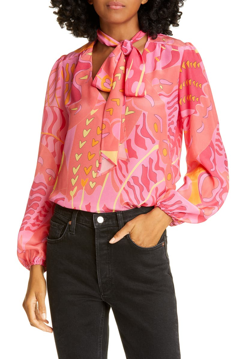 RIXO Taylor Tie Neck Silk Blouse, Main, color, PSYCHEDELIC BUTTERFLY