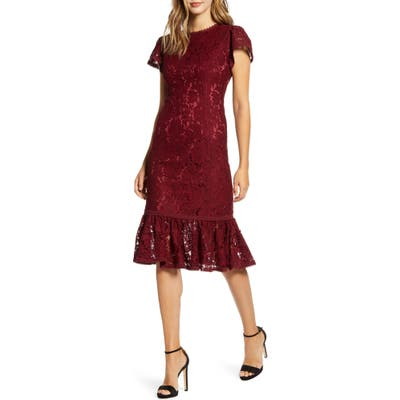 Rachel Parcell Lace Ruffle Hem Sheath Dress, Red (Nordstrom Exclusive)
