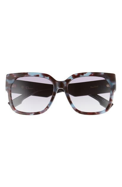 Dior 58mm Special Fit Butterfly Sunglasses In Blue Havana/ Violet