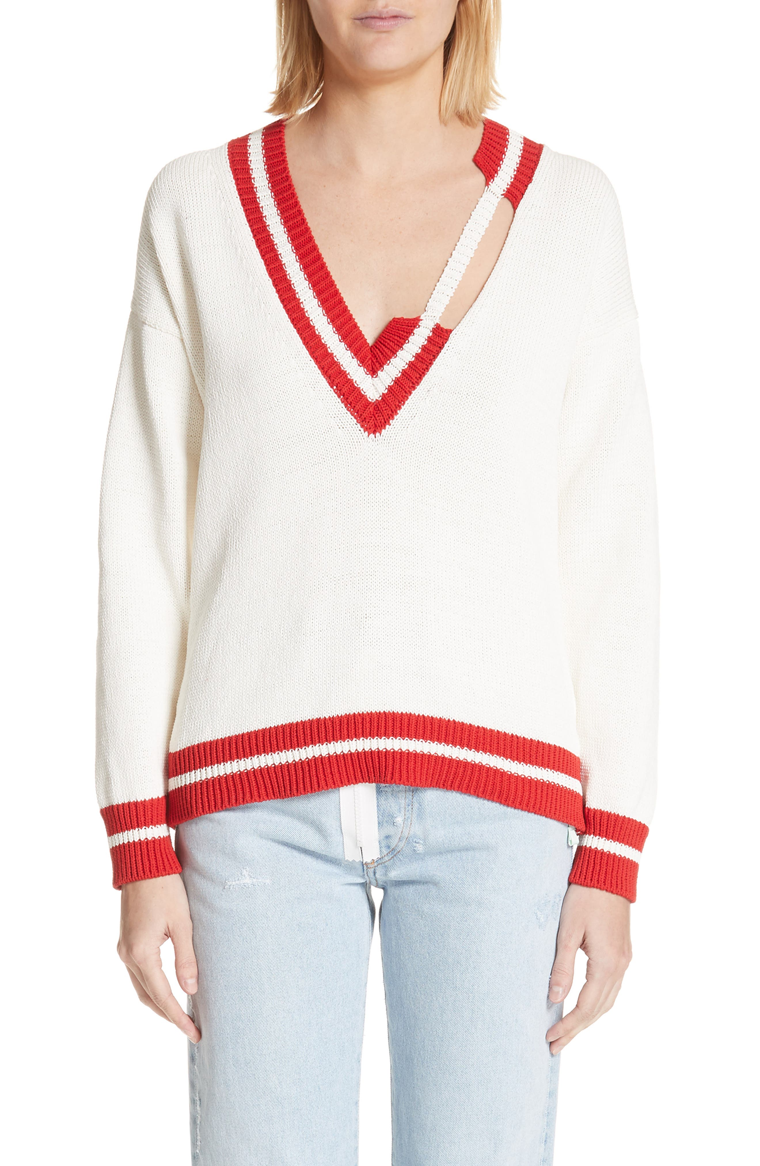 Off White Oversized Distressed Tennis Sweater Nordstrom