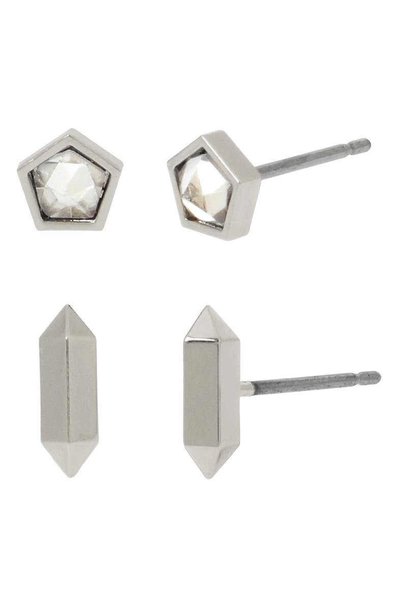 ALLSAINTS 2-Pack Stud Earrings, Main, color, CRYSTAL/ RHODIUM
