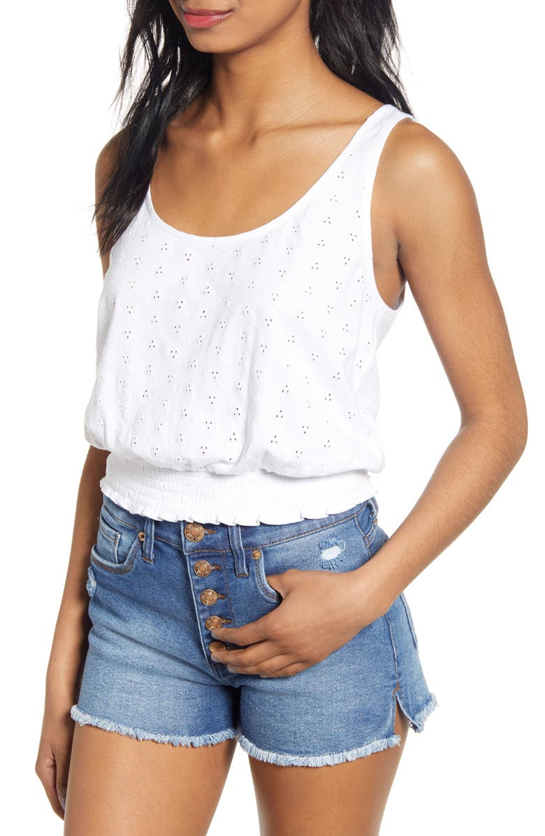 BP. Schiffly Eyelet Tank Top, Main, color, WHITE