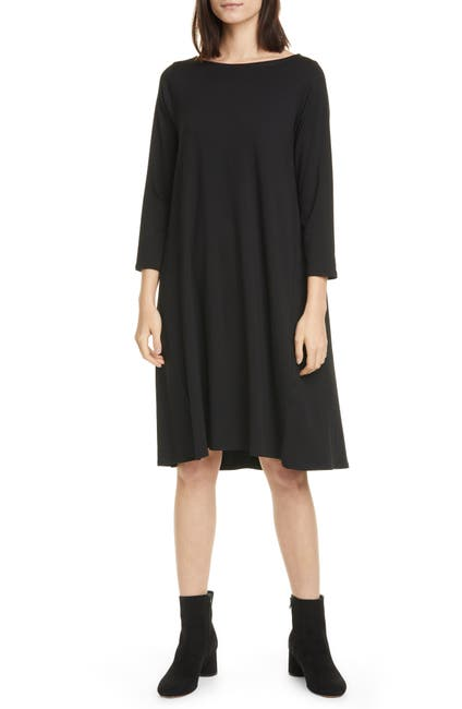 Image of Eileen Fisher Bateau Neck 3/4 Sleeve A-Line Dress