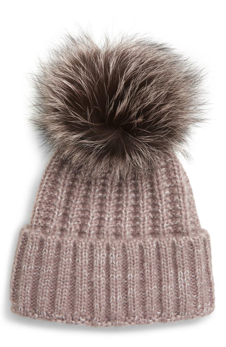KYI KYI Beanie with Genuine Fox Fur Pom, Main, color, DOVE CUFF WITH DOVE FOX POM