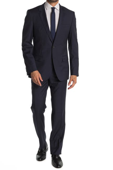 Image of BOSS Dark Blue Check Two Button Notch Lapel Suit