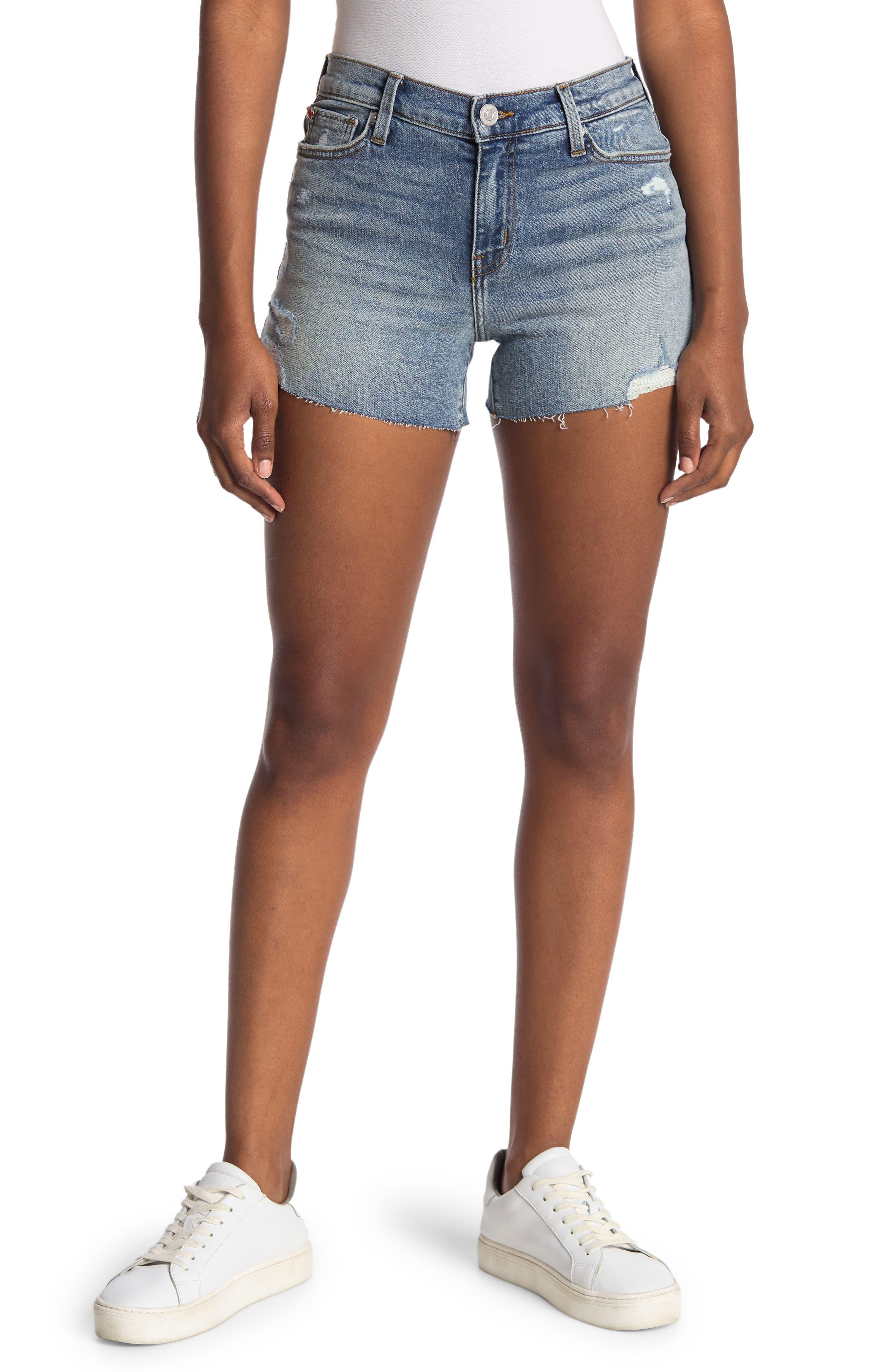 Image of HUDSON Jeans Graceie Mid Rise Distressed Raw Hem Denim Shorts