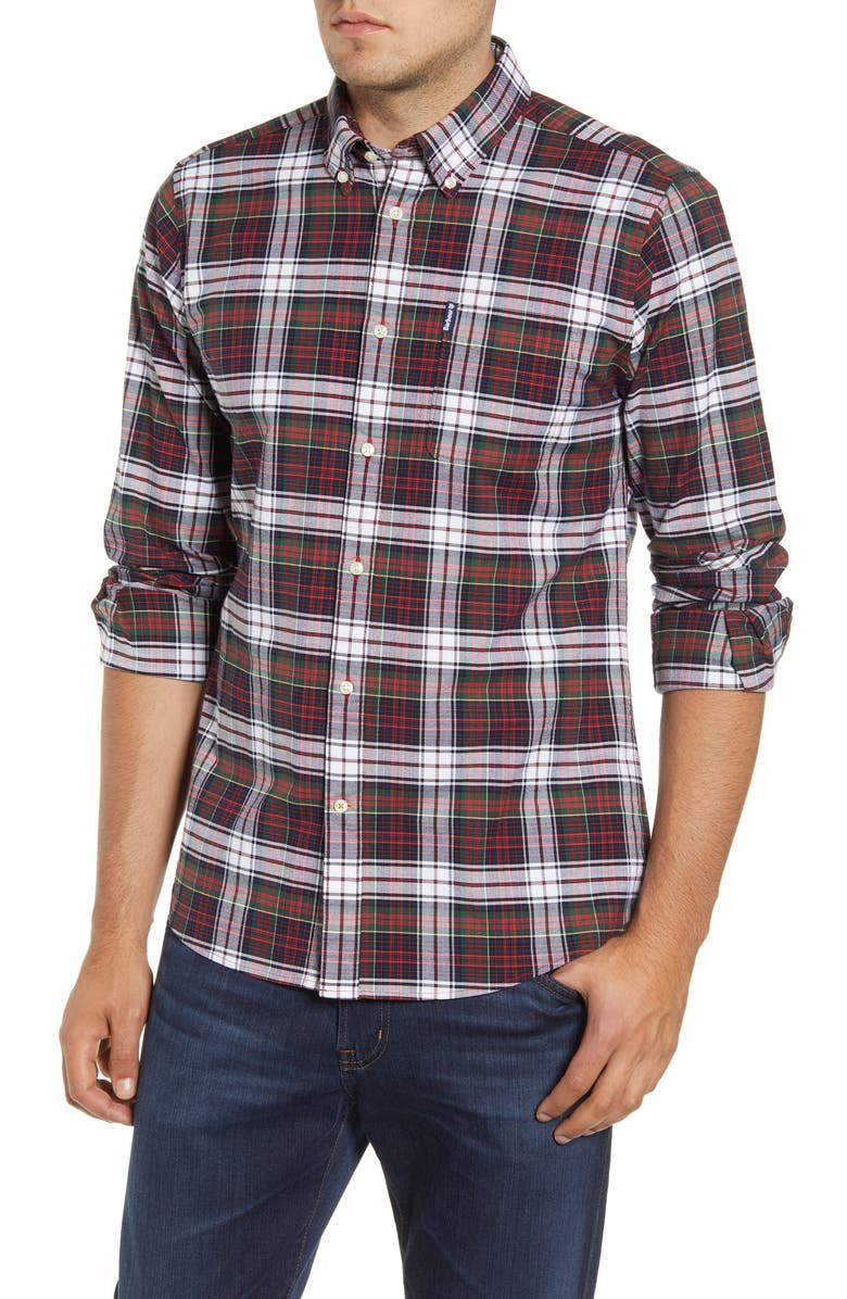 BARBOUR Highland Check 11 Tailored Fit Button-Down Shirt, Main, color, RED