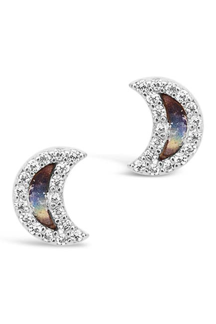 Image of Sterling Forever Sterling Silver CZ & Shell Moon Stud Earrings