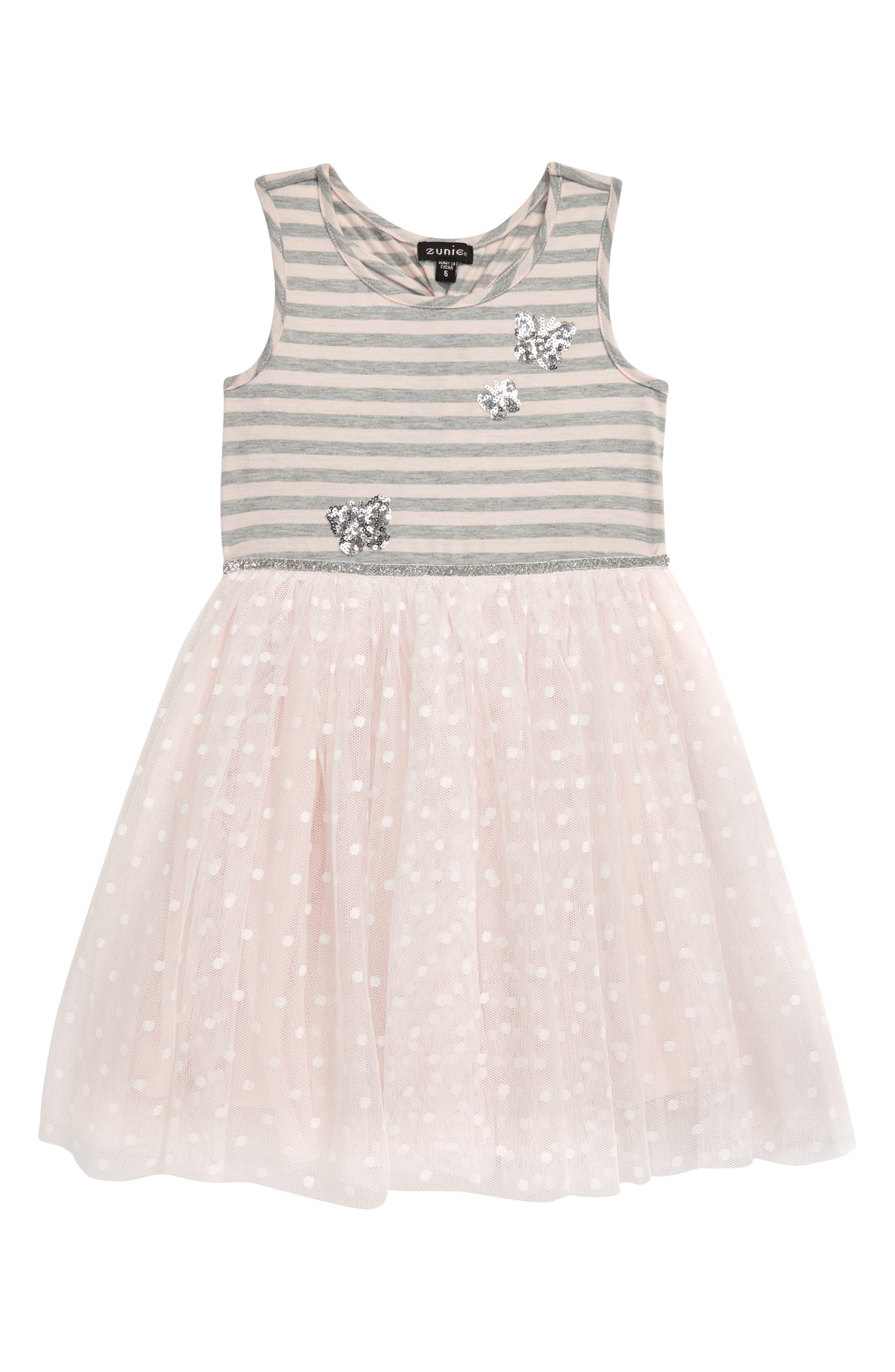 Toddler Girls Zunie Sequin Applique Mixed Media Dress Size 3T  Grey