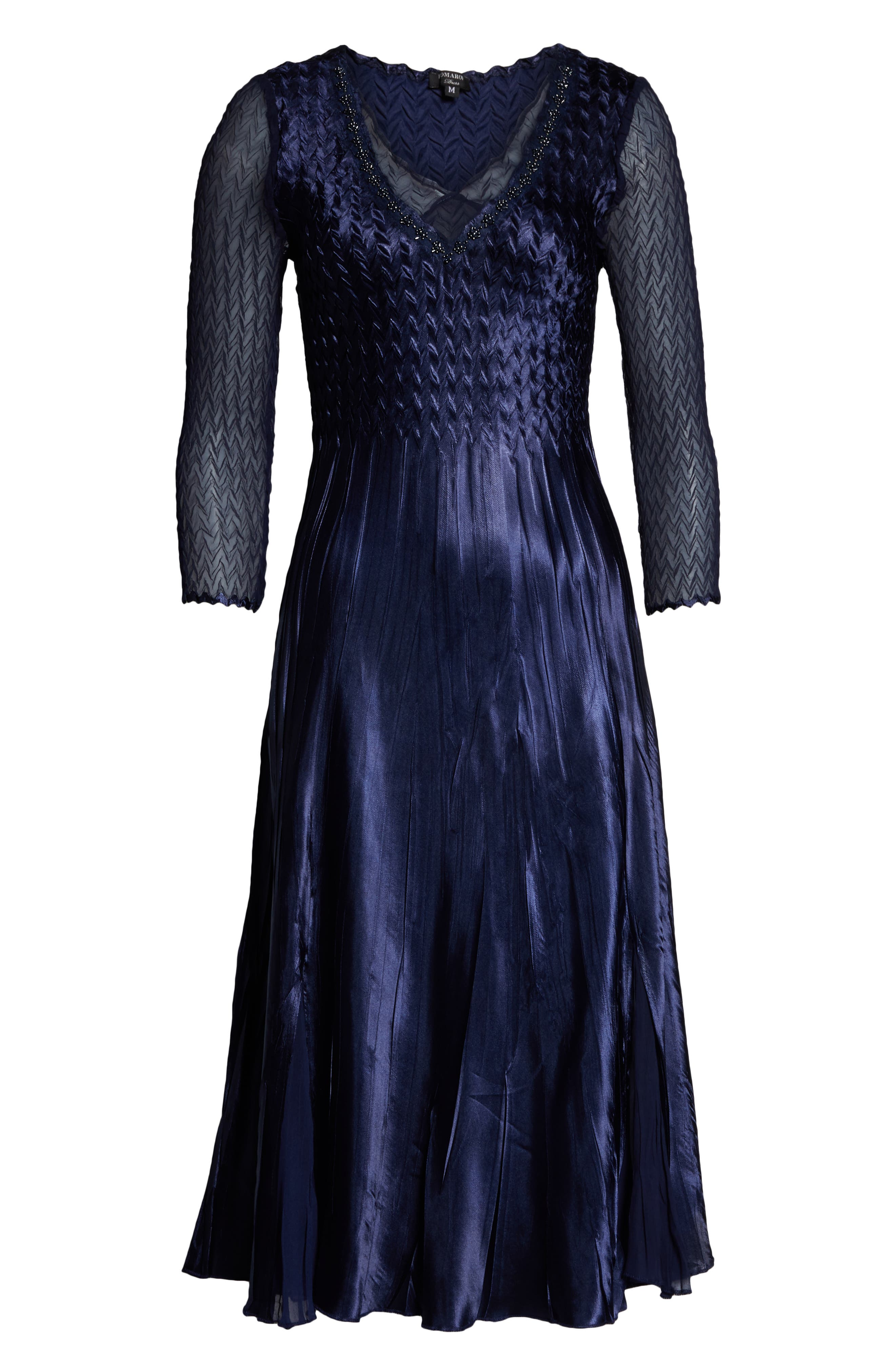 ,                             Kamarov Charmuese & Chiffon Dress,                             Alternate thumbnail 5, color,                             MIDNIGHT NAVY