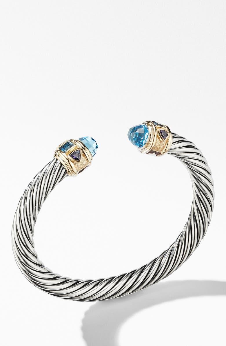 DAVID YURMAN Renaissance Cuff Bracelet with 14K Yellow Gold, Main, color, SKY BLUE TOPAZ