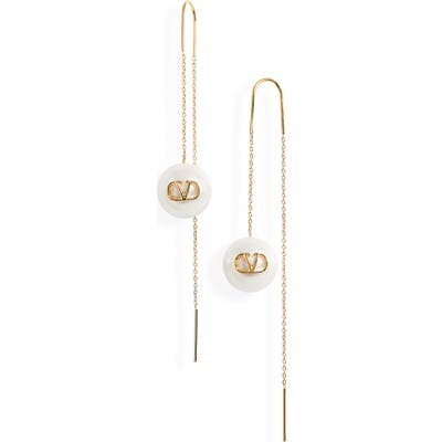 Valentino Vlogo Imitation Pearl Linear Earrings