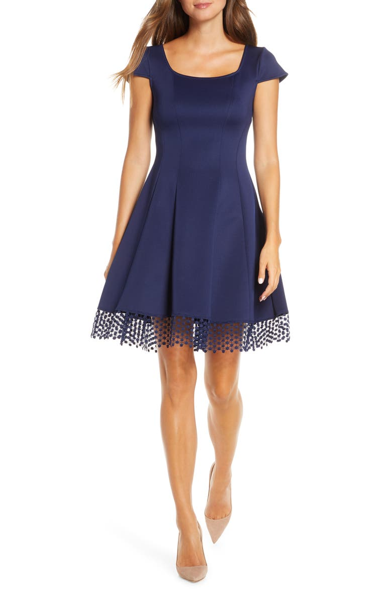 DONNA RICCO Lace Trim Fit & Flare Dress, Main, color, NAVY