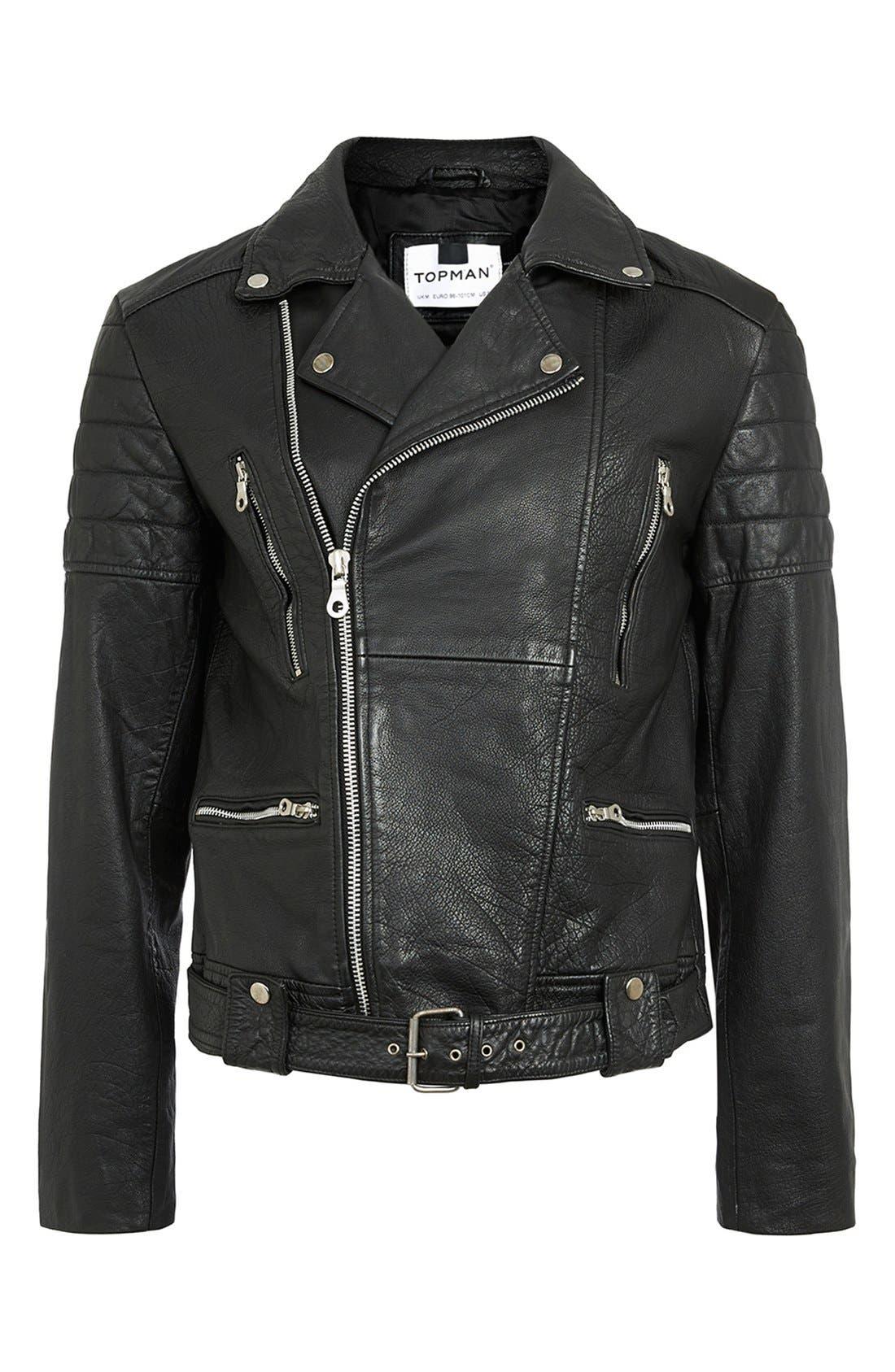 ,                             Washed Leather Moto Jacket with Waist Belt,                             Alternate thumbnail 5, color,                             001